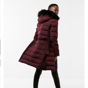 Long Down Belted Smocked Puffer Jacket
